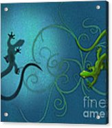 water colour print of twin geckos and swirls Duality Acrylic Print by Sassan Filsoof