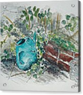 Watering Can Acrylic Print by Helen J Pearson