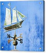 Weathervane Clipper Ship Acrylic Print by Carol Leigh