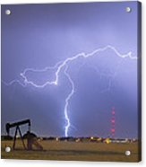 Weld County Dacona Oil Fields Lightning Thunderstorm Acrylic Print by James BO  Insogna