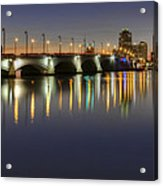 West Palm Beach At Night Acrylic Print by Debra and Dave Vanderlaan