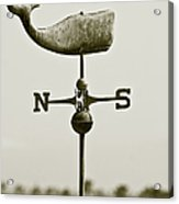 Whale Weathervane In Sepia Acrylic Print by Ben and Raisa Gertsberg