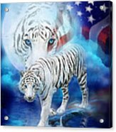White Tiger Moon - Patriotic Acrylic Print by Carol Cavalaris