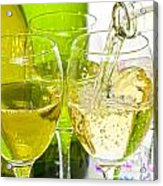 White Wine Pouring Into Glasses Acrylic Print by Colin and Linda McKie