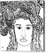 Wild Hair Portrait In Shapes And Lines Acrylic Print by Lenora  De Lude