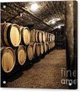 Wine Barrels In A Cellar. Cote D'or. Burgundy. France. Europe Acrylic Print by Bernard Jaubert