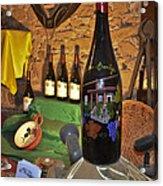 Wine Bottle On Display Acrylic Print by Allen Sheffield
