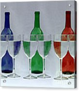 Wine Bottles And Glasses Illusion Acrylic Print by Jack Schultz