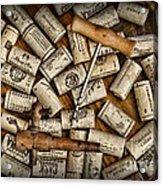 Wine Corks On A Wooden Barrel Acrylic Print by Paul Ward