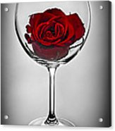 Wine Glass With Rose Acrylic Print by Elena Elisseeva