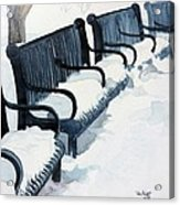 Winter Benches Acrylic Print by Tom Riggs