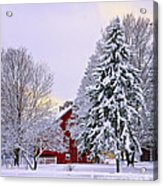 Winter Farm Scene Acrylic Print by Timothy Flanigan