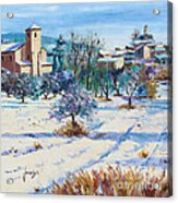 Winter In Lourmarin Acrylic Print by Jean-Marc Janiaczyk