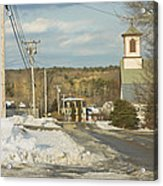 Winter In Round Pond Maine Acrylic Print by Keith Webber Jr
