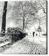 Winter Night - Snow - Madison Square Park - New York City Acrylic Print by Vivienne Gucwa