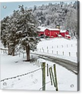 Winter Road Square Acrylic Print by Bill  Wakeley