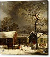 Winter Scene In New Haven Connecticut 1858 By Durrie Acrylic Print by Movie Poster Prints