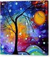 Winter Sparkle Original Madart Painting Acrylic Print by Megan Duncanson