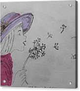 Wish Upon A Dandelion In Colour Acrylic Print by Jennifer Schwab