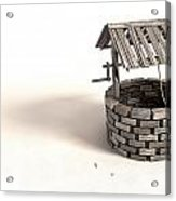 Wishing Well With Wooden Bucket And Rope Acrylic Print by Allan Swart