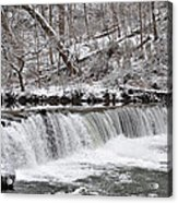 Wissahickon Waterfall In Winter Acrylic Print by Bill Cannon