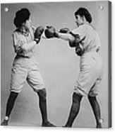 Woman Boxing Acrylic Print by Digital Reproductions