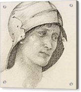 Woman In Hat, Detail From A Sketchbook Acrylic Print by Sir Edward Coley Burne-Jones