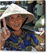 Woman Portrait At Market In Hue Acrylic Print by Sami Sarkis