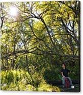 Woman Sitting On Bench - Bright Green Trees Sun Is Shining Acrylic Print by Matthias Hauser