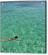 Woman Snorkeling By Turquoise Sea Acrylic Print by Sami Sarkis