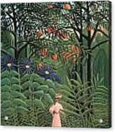 Woman Walking In An Exotic Forest Acrylic Print by Henri Rousseau