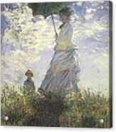 Woman With A Parasol Acrylic Print by Claude Monet