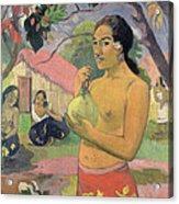 Woman With Mango Acrylic Print by Paul Gauguin