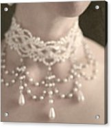 Woman With Pearl Choker Necklace Acrylic Print by Lee Avison