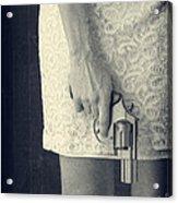 Woman With Revolver 60 X 45 Custom Acrylic Print by Edward Fielding