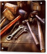 Woodworker - A Collection Of Hammers  Acrylic Print by Mike Savad