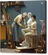 Working In Marble Acrylic Print by Jean-Leon Gerome