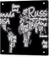 World Map In Text Neon Light Acrylic Print by Dan Sproul