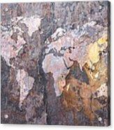 World Map On Stone Background Acrylic Print by Michael Tompsett
