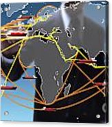 World Shipping Routes Map Acrylic Print by Atiketta Sangasaeng