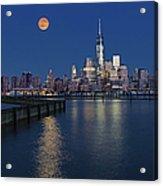World Trade Center Super Moon Acrylic Print by Susan Candelario