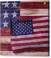 Worn American Flag Acrylic Print by Garry Gay