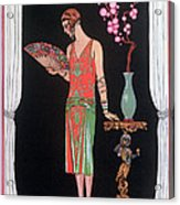 Worth Evening Dress Fashion Plate From Gazette Du Bon Ton Acrylic Print by Georges Barbier