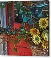 Wreath And The Red Door Acrylic Print by Michael Thomas