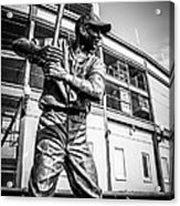 Wrigley Field Ernie Banks Statue In Black And White Acrylic Print by Paul Velgos