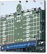 Wrigley Field Scoreboard Sign Acrylic Print by Paul Velgos