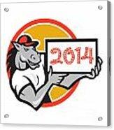 Year Of Horse 2014 Showing Sign Cartoon Acrylic Print by Aloysius Patrimonio