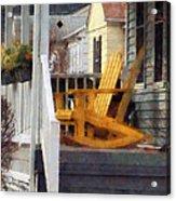 Yellow Adirondack Rocking Chairs Acrylic Print by Susan Savad