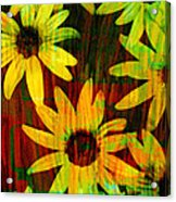 Yellow And Green Daisy Design Acrylic Print by Ann Powell