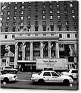 Yellow Cabs Go Past Pennsylvania Hotel On 7th Avenue New York City Usa Acrylic Print by Joe Fox
